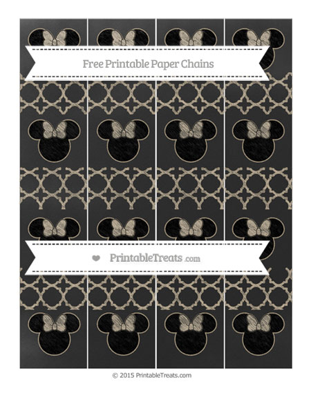 Free Khaki Quatrefoil Pattern Chalk Style Minnie Mouse Paper Chains
