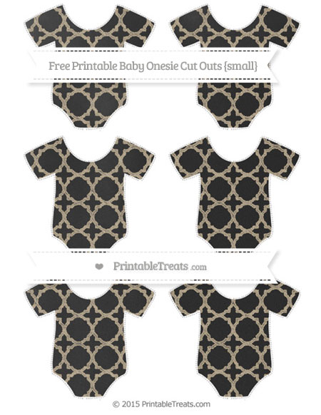 Free Khaki Quatrefoil Pattern Chalk Style Small Baby Onesie Cut Outs