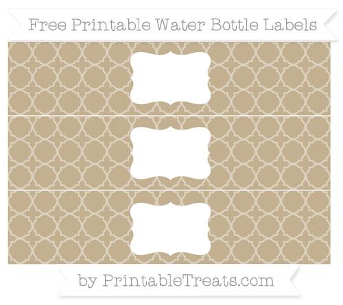 Free Khaki Quatrefoil Pattern Water Bottle Labels