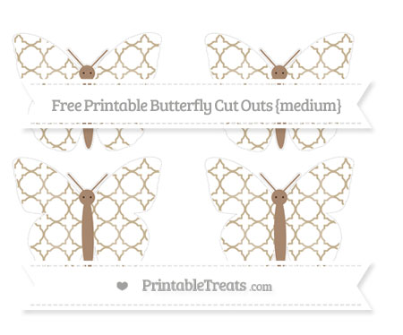 Free Khaki Quatrefoil Pattern Medium Butterfly Cut Outs