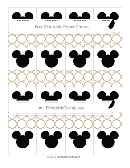 Free Khaki Quatrefoil Pattern Mickey Mouse Paper Chains