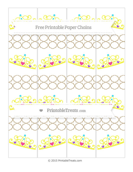 Free Khaki Quatrefoil Pattern Princess Tiara Paper Chains