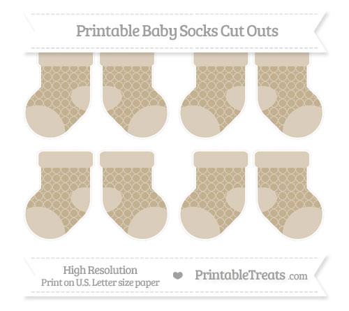 Free Khaki Quatrefoil Pattern Small Baby Socks Cut Outs