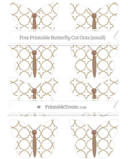Free Khaki Quatrefoil Pattern Small Smiley Butterfly Cut Outs