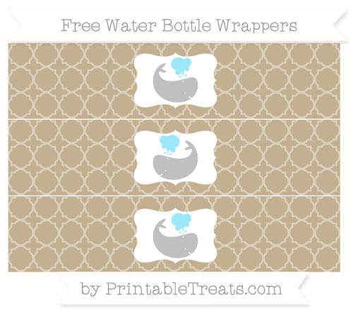 Free Khaki Quatrefoil Pattern Whale Water Bottle Wrappers