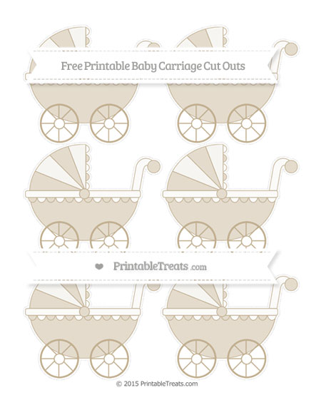Free Khaki Small Baby Carriage Cut Outs
