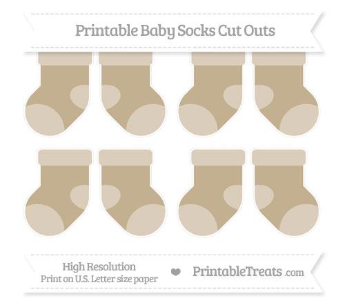 Free Khaki Small Baby Socks Cut Outs
