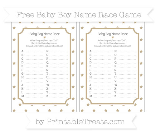 Free Khaki Star Pattern Baby Boy Name Race Game