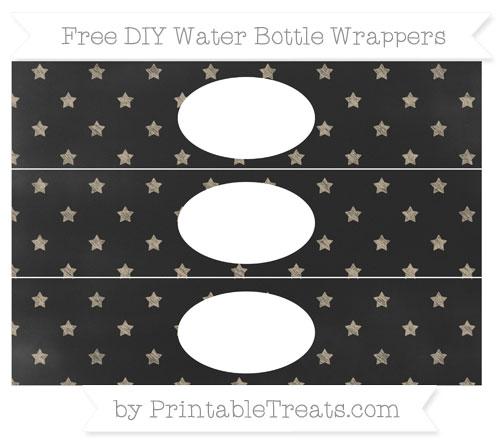 Free Khaki Star Pattern Chalk Style DIY Water Bottle Wrappers