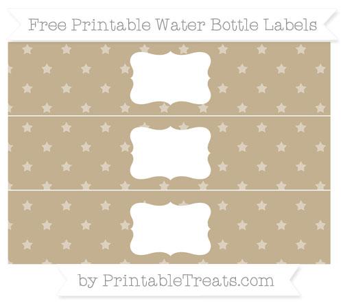 Free Khaki Star Pattern Water Bottle Labels