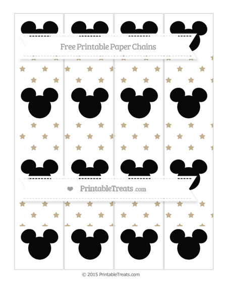 Free Khaki Star Pattern Mickey Mouse Paper Chains