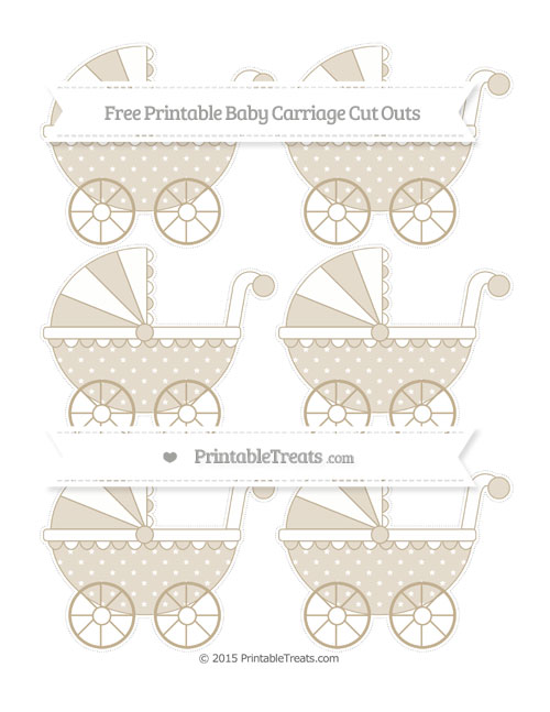Free Khaki Star Pattern Small Baby Carriage Cut Outs