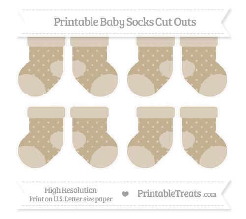 Free Khaki Star Pattern Small Baby Socks Cut Outs