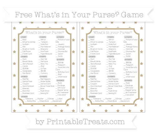 Free Khaki Star Pattern What's in Your Purse Baby Shower Game