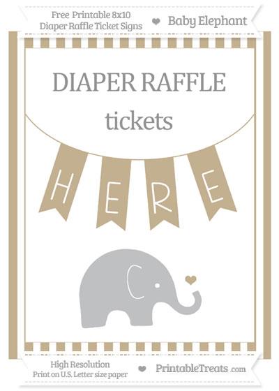 Free Khaki Striped Baby Elephant 8x10 Diaper Raffle Ticket Sign