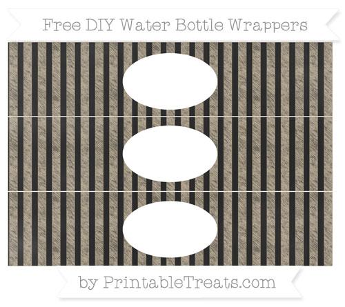 Free Khaki Striped Chalk Style DIY Water Bottle Wrappers