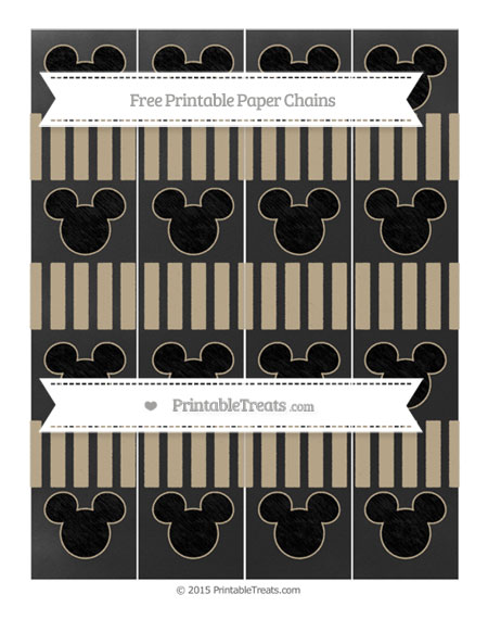 Free Khaki Striped Chalk Style Mickey Mouse Paper Chains