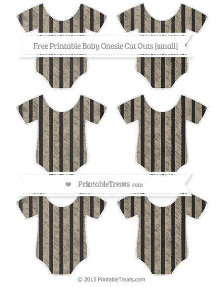 Free Khaki Striped Chalk Style Small Baby Onesie Cut Outs