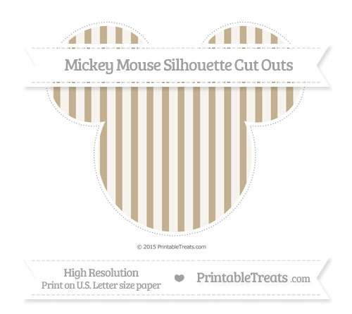 Free Khaki Striped Extra Large Mickey Mouse Silhouette Cut Outs