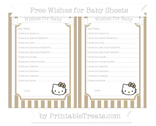 Free Khaki Striped Hello Kitty Wishes for Baby Sheets