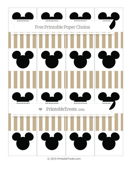 Free Khaki Striped Mickey Mouse Paper Chains