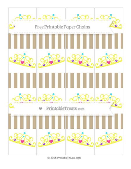 Free Khaki Striped Princess Tiara Paper Chains