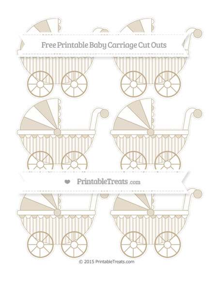 Free Khaki Striped Small Baby Carriage Cut Outs