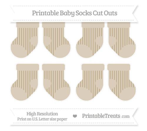 Free Khaki Striped Small Baby Socks Cut Outs