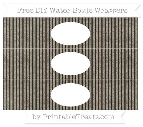 Free Khaki Thin Striped Pattern Chalk Style DIY Water Bottle Wrappers