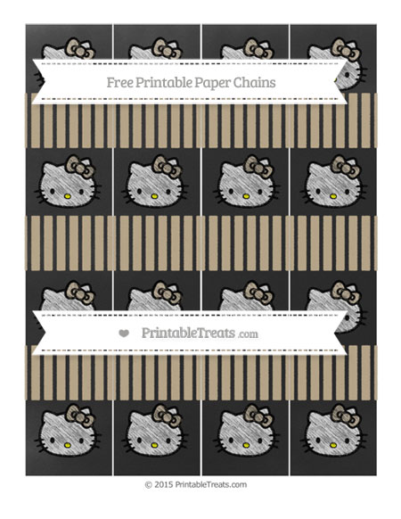 Free Khaki Thin Striped Pattern Chalk Style Hello Kitty Paper Chains
