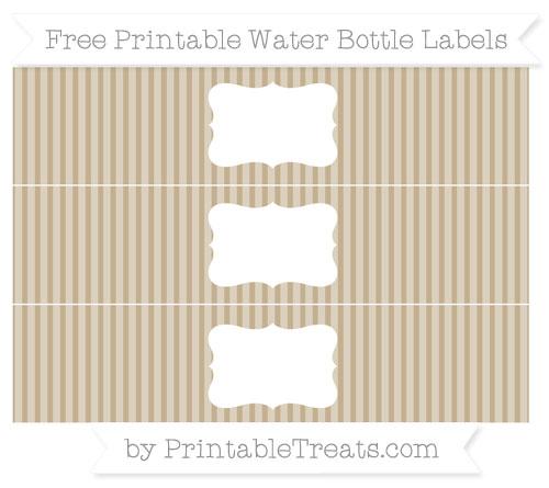 Free Khaki Thin Striped Pattern Water Bottle Labels