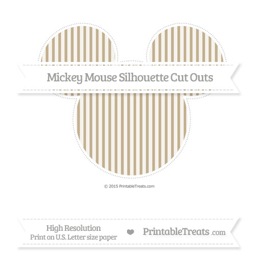 Free Khaki Thin Striped Pattern Extra Large Mickey Mouse Silhouette Cut Outs