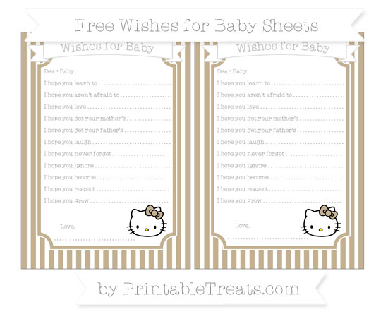 Free Khaki Thin Striped Pattern Hello Kitty Wishes for Baby Sheets