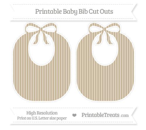 Free Khaki Thin Striped Pattern Large Baby Bib Cut Outs