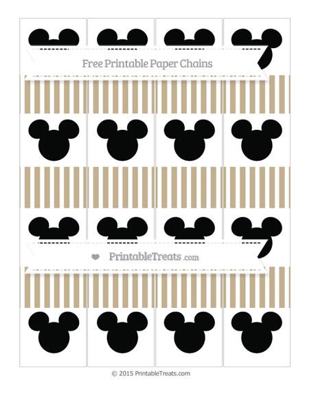Free Khaki Thin Striped Pattern Mickey Mouse Paper Chains
