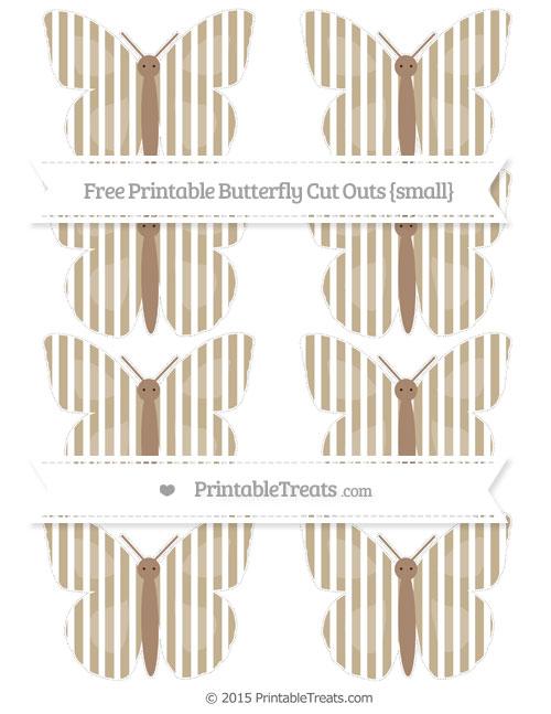 Free Khaki Thin Striped Pattern Small Butterfly Cut Outs