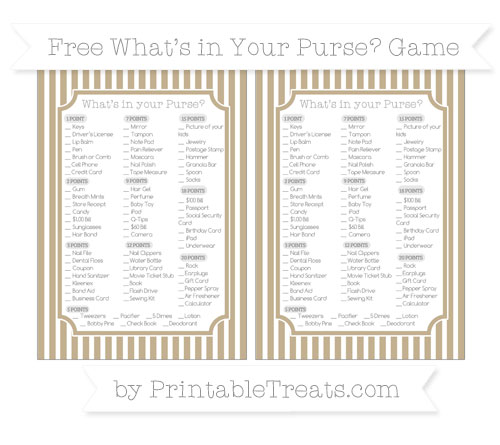 Free Khaki Thin Striped Pattern What's in Your Purse Baby Shower Game