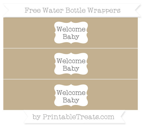 Free Khaki Welcome Baby Water Bottle Wrappers