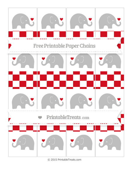 Free Lava Red Checker Pattern Baby Elephant Paper Chains