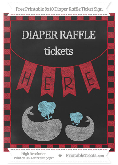 Free Lava Red Checker Pattern Chalk Style Baby Whale 8x10 Diaper Raffle Ticket Sign
