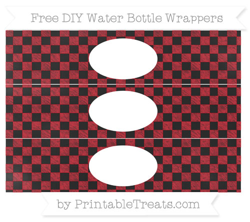 Free Lava Red Checker Pattern Chalk Style DIY Water Bottle Wrappers