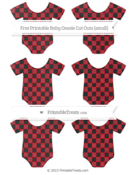 Free Lava Red Checker Pattern Chalk Style Small Baby Onesie Cut Outs