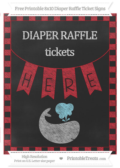 Free Lava Red Checker Pattern Chalk Style Whale 8x10 Diaper Raffle Ticket Sign
