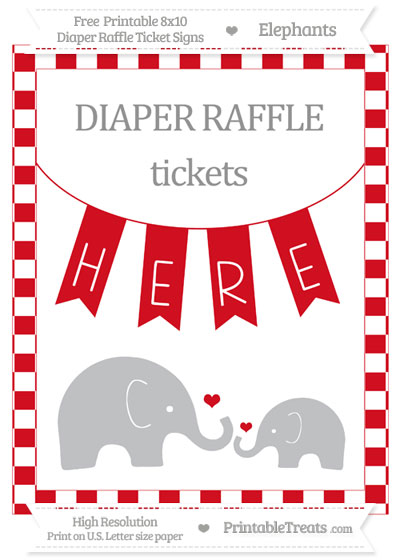 Free Lava Red Checker Pattern Elephant 8x10 Diaper Raffle Ticket Sign