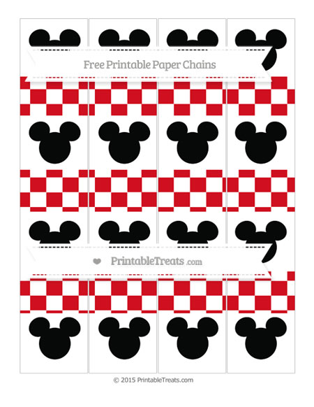 Free Lava Red Checker Pattern Mickey Mouse Paper Chains