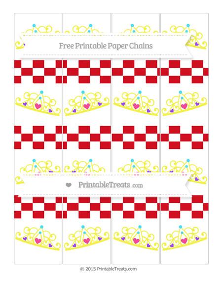 Free Lava Red Checker Pattern Princess Tiara Paper Chains