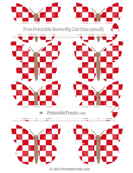 Free Lava Red Checker Pattern Small Butterfly Cut Outs