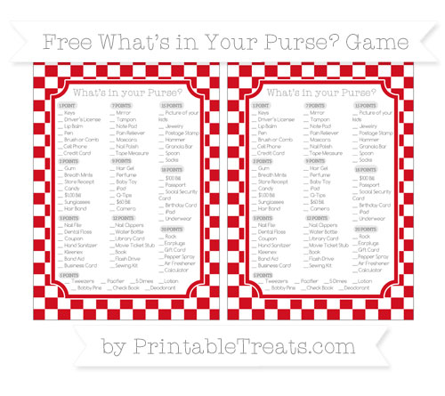 Free Lava Red Checker Pattern What's in Your Purse Baby Shower Game