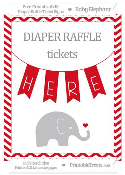 Free Lava Red Chevron Baby Elephant 8x10 Diaper Raffle Ticket Sign