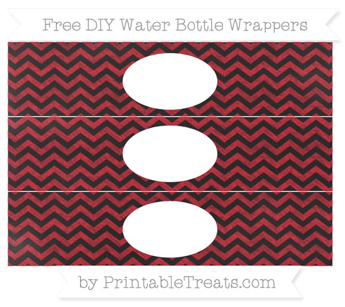 Free Lava Red Chevron Chalk Style DIY Water Bottle Wrappers